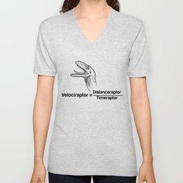Velociraptor dinosaur physics funny present Unisex V-Neck