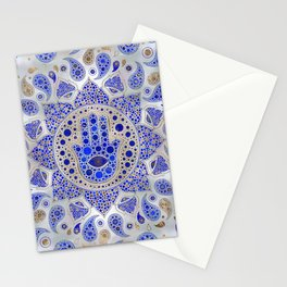 Hamsa Hand -Hand of Fatima Dot Art On Mother of pearl Stationery Cards