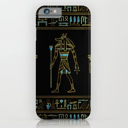 Anubis Egyptian  Gold and blue stained glass iPhone Case