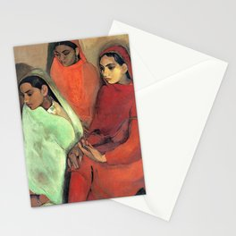 Amrita Sher-Gil - Group of Three Girls - Digital Remastered Edition Stationery Cards