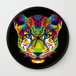 The Colorful Leopard Head WPAP Style Wall Clock