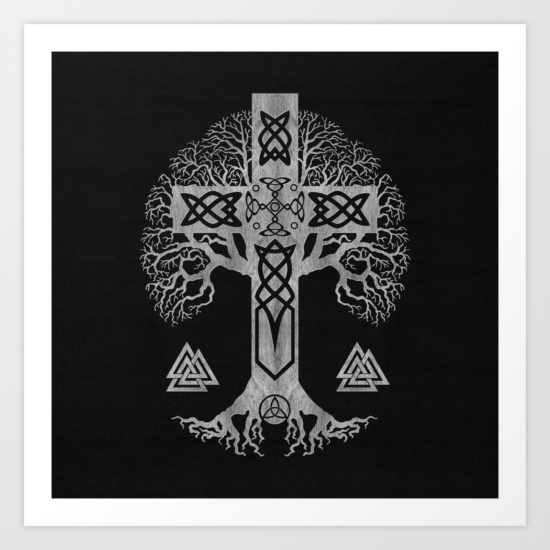 Tree Of Life Yggdrasil And Celtic Cross Art Print By K9printart Society6
