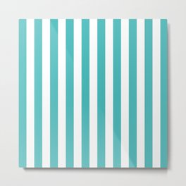 Vertical Stripes (Teal & White Pattern) Metal Print