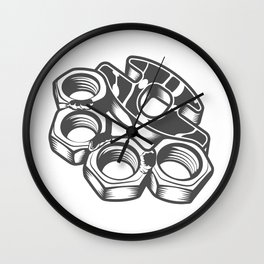 """Fashion Modern Design Print """"Brass Knuckles""""! Rap, Hip Hop, Rock style and more Wall Clock"""
