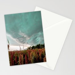 In the Maize - Storm Advances Over Farm in Oklahoma Stationery Cards