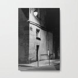 Paris at night | Parisian Building in Marais | Black and white | Travel Photography  Metal Print
