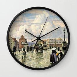 Paul Gustav Fischer - A Scene From Knippelsbro, Bridge In Copenhagen, When The Artist Was A Boy Wall Clock