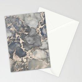 Alcohol Ink Art Grey Beige Golden Elegant Marble Painting Stationery Cards