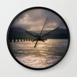 Hanalei Pier Bay Kauai Hawaii Printable Wall Art | Tropical Island Landscape Travel Photography Print Wall Clock