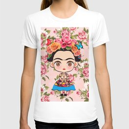 Frida cartoon roses T-shirt
