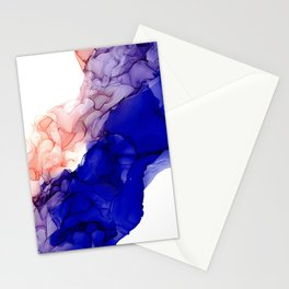 Indigo and Coral River Abstract: Original Alcohol Ink Painting by Herzart Stationery Cards