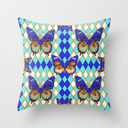 ARGYLE ABSTRACTED  BROWN SPICE  MONARCHS BUTTERFLY & BLUE-WHITE Throw Pillow