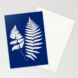 Woodland Fern Pattern, Cobalt Blue and White Stationery Cards