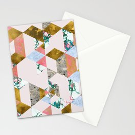Geometry of Love Blush Marble Painting, Abstract Colorful Gold Pastel Shapes Collage Graphic Design Stationery Cards