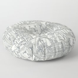 Ancient Greece indigo pearl Floor Pillow