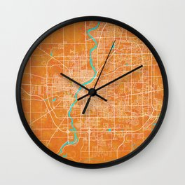 Rockford, IL, USA, Gold, Blue, City, Map Wall Clock