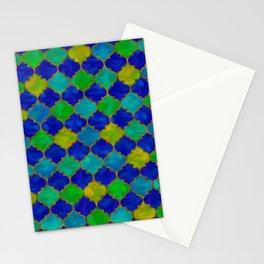 Ocean Breeze -Watercolor Moroccan Lattice Stationery Cards