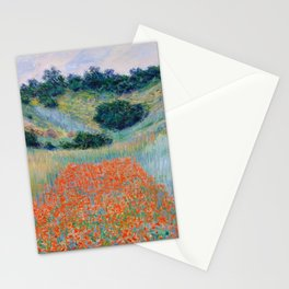Poppy Field in a Hollow near Giverny Claude Monet Stationery Cards