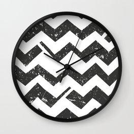Black White Chevron Modern  Wall Clock