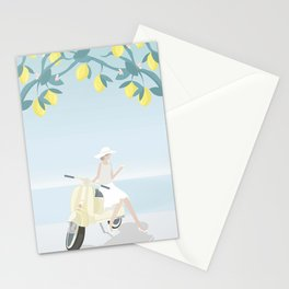 Drinking cocktails, under lemon trees, on a scooter Stationery Cards
