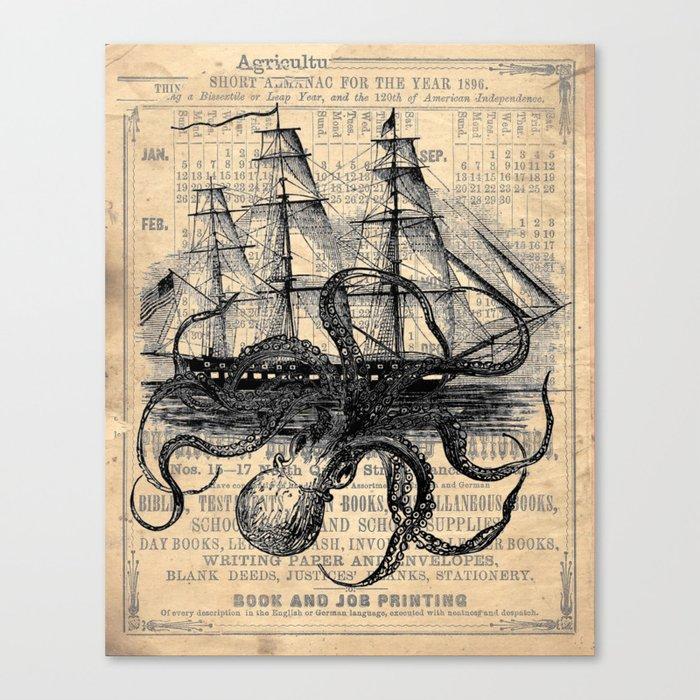 Octopus Kraken attacking Ship Antique Almanac Paper Leinwanddruck