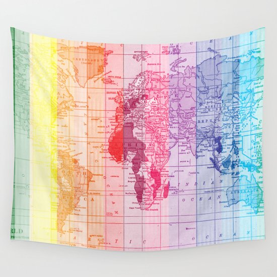 rainbow world map wall tapestry