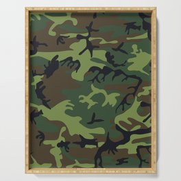 Green Brown Camouflage Pattern Serving Tray