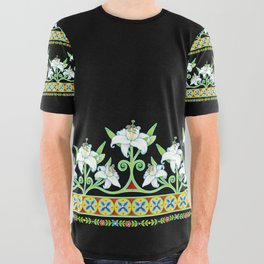 Elizabethan Lily Folkloric Stripe All Over Graphic Tee
