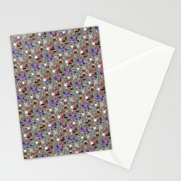 Small Print Dog Weim Nation Grey Ghost Weimaraner Hand-painted Pet Pattern on Khaki Beige Stationery Cards
