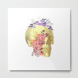 Floral Skull Anatomy  Metal Print