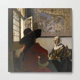 "Johannes Vermeer ""Officer and Laughing Girl"" Metal Print"