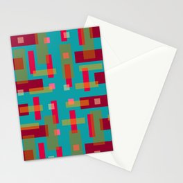 Red and Ocher Block City on Turquise Stationery Cards