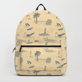 Seaside Town Toile Pattern (Beige and Gray) Backpack