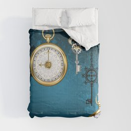 Steampunk Design with Clocks and Gears Comforters