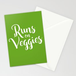 Runs on Veggies Text Stationery Cards