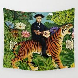 Henri Rousseau Dreaming of Tigers tropical big cat jungle scene by Henri Rousseau Wall Tapestry