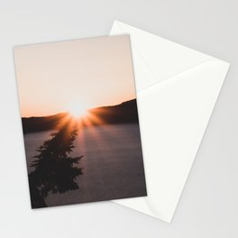 Crater Lake Sunrise // Starburst on a Leaning Pine Stationery Cards