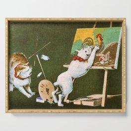 Kobayashi Kiyochika - Top Quality Art - Canvas and Cat Serving Tray