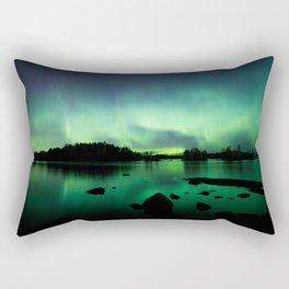 Northern lights lake landscape in Finland Rectangular Pillow