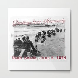 Greetings from Normandy - Utah Beach Metal Print