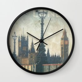 London Vintage skyline view of Westminster Abbey and Big Ben, painting from Victorian era Wall Clock