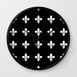 Fleur de lys 3-lis,lily,monarchy,king,queen,monarquia. Wall Clock