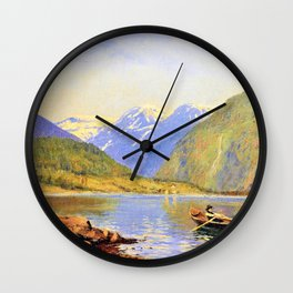 Hans Dahlr - Figures in a rowing boat on a fjord - Digital Remastered Edition Wall Clock