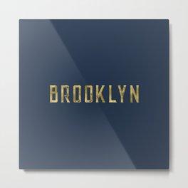Brooklyn in Gold on Navy Metal Print