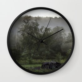 Foggy Mountain View Wall Clock