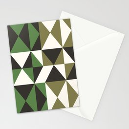 geo triangles-green 01 Stationery Cards