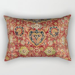 Indian Boho II // 16th Century Distressed Red Green Blue Flowery Colorful Ornate Rug Pattern Rectangular Pillow