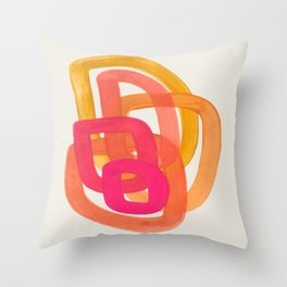 Funky Retro 70' Style Pattern Orange Pink Greindent Striped Circles Mid Century Colorful Pop Art Deko-Kissen