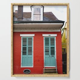 Red Creole Cottage New Orleans French Quarter Serving Tray
