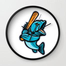 Largemouth Bass Baseball Mascot Wall Clock